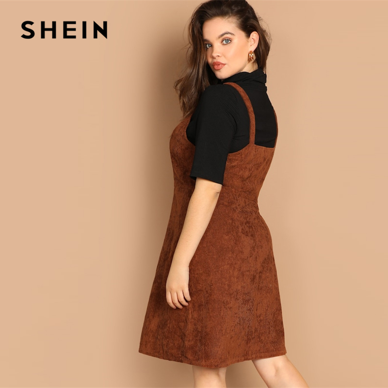US $17.0 40% OFF|Aliexpress.com : Buy SHEIN Plus Size O ring Zip Front  Corduroy Pinafore Fit And Flare Spaghetti Strap Dress 2019 New Spring Knee  ...