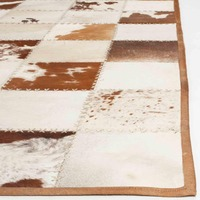 Denver Brown Natural Cow Hide Patchwork Cow Fur Rug