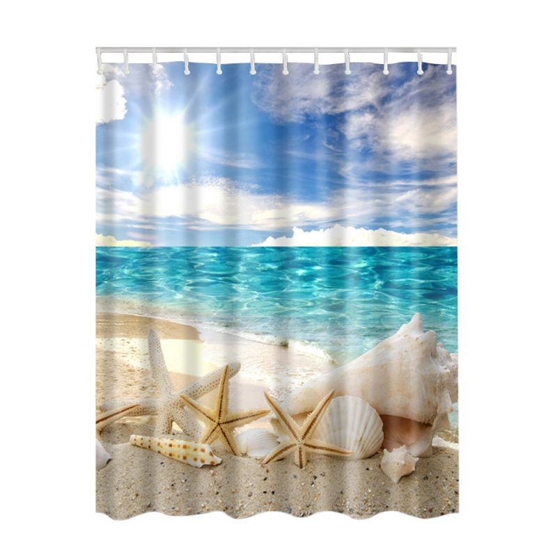 2018 Seascape Sea Beach Picture Print Ocean Decor Collection Bathroom Set Fabric Shower Curtain with Hooks