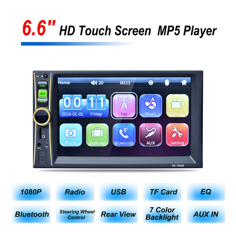 RK-7680 6.6 Inch HD 2 din Car Player MP5 MP3 MP4 Bluetooth Hands-free Reversing Priority with Camera MP5 Player Car Stereo Audio rs 1010bt car bluetooth hands free stereo mp3 player