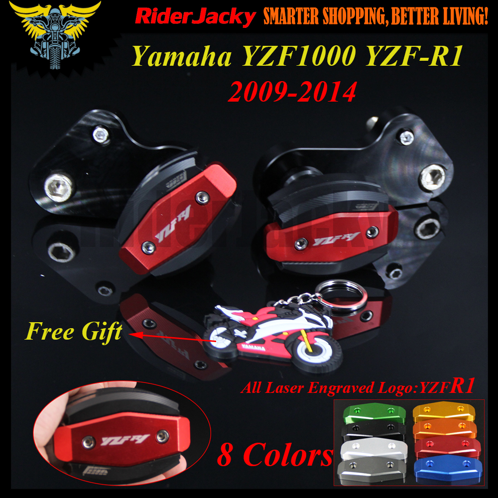 For Yamaha YZF R1 YZF1000 YZF R1 09 14 2009 2010 2011 2012 2013 2014 CNC Frame Sliders Crash Pad Cover Falling Protection