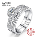 Fashion Jewelry Ring Sets Real 925 Silver Women Rings Set CZ Diamond Jewelry Wedding Bague Rings Set Accessories Bijoute JZR042