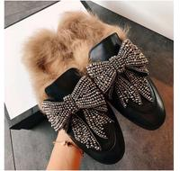 Soft Leather With Fur Women Slipper Indoor Outside Shoes Woman Crystal Bow Sapatos Mulher Street Fashion Flats & Loafers