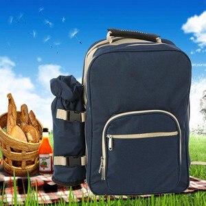 Image 3 - Outdoor Camping Tragbare Schulter Picknick Tasche Picknick Backapck Rucksack BBQ Werkzeug Paket 4 Personen