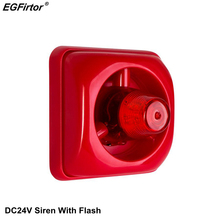 Security Alarm DC24V Alarm Siren With Flashlight 100dB Sounder Fire Siren With Strobe For Conventional Fire Alarm System