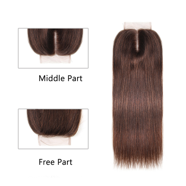 Brazilian Straight Remy Hair 3 Bundles With Lace Closure 4×4