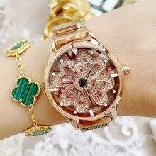 Top Luxury Women Watches Stainless Steel Wrist Watch Rotation Dress Causal Quartz Clocks reloj