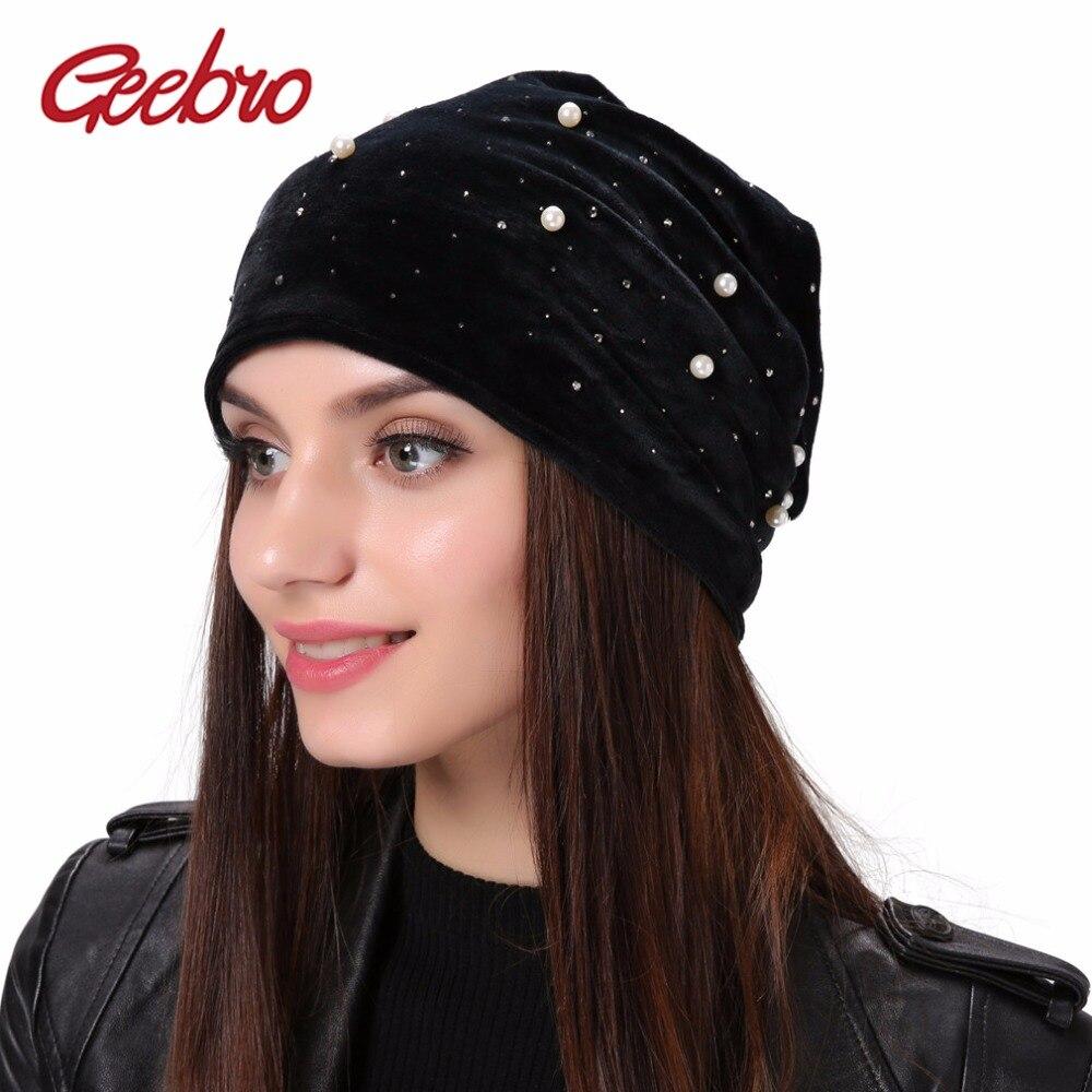 Geebro Brand Women's   Beanie   Pearl Rhinestones Hat Women Polyester Slouchy   Beanie   Winter Velvet Balaclava Black   Skullies     Beanies