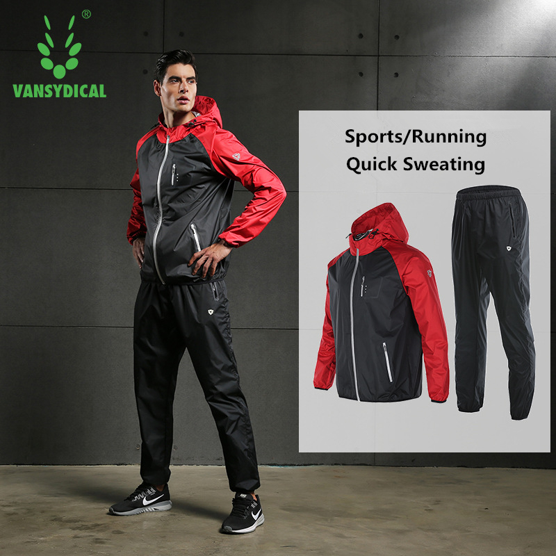 Vansydical Sports Sauna Suits Mens Gym Running Set Outdoor Fitness Lose Weight Jogging Suits Quick Sweating