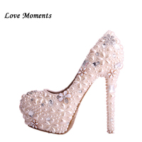 Love Moment Beige Pearl wedding shoes ultra high heeled handmade crystal bride shoes formal dress Pumps Platform shoes for woman