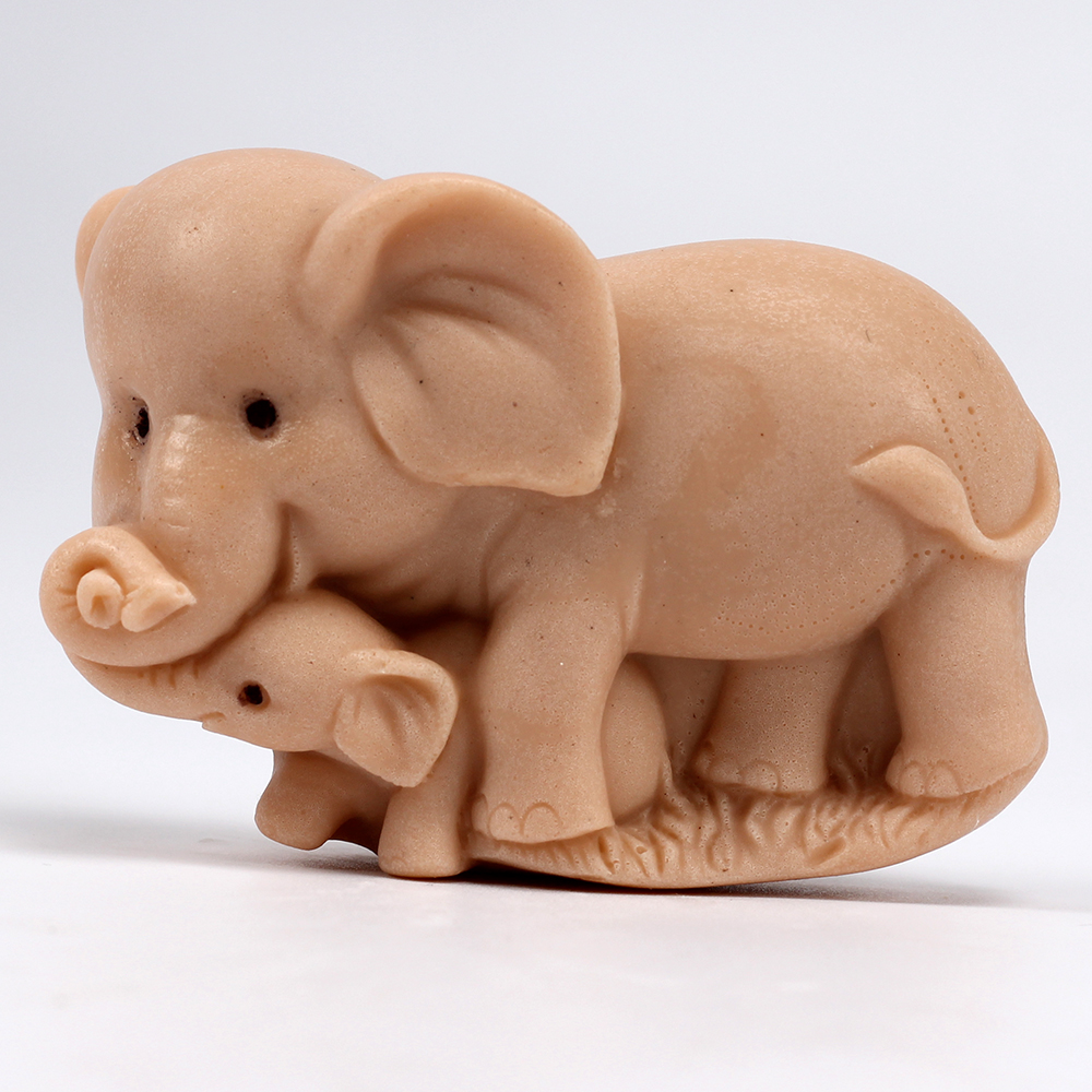 3D Silicone Soap Mold Elephant Mother And Child Handmade Soap Making Mould