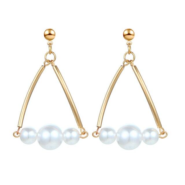 b52c9993cece2 US $0.91 39% OFF|Korean Statement Earrings New Popular Geometric Triangle  Size Pearl Dangle Drop Earrings For Women Earings Fashion Jewelry 2019-in  ...