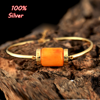 100% Silver Sterling 925 Gold Color Bracelet&Bangle Fittings with Amber Turquoise Pearl
