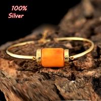 100% plata esterlina 925 chapado en oro pulsera accesorios con brazaletes de cuentas turquesa ámbar perla