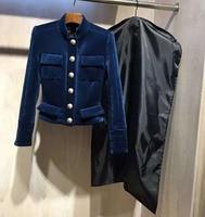 2015 Autumn Winter Runway Luxury NEW Fashion Women TOP Grade Velvet Terciopelo Short Jacket Gold Buttons