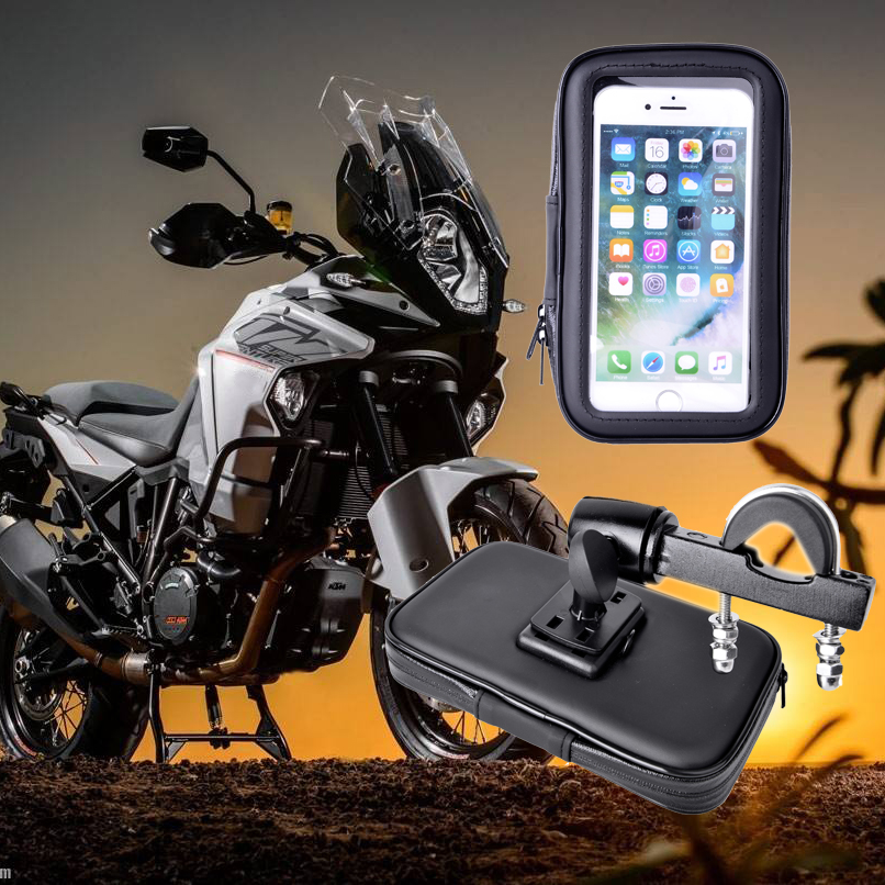 2018 Waterproof Motorcycle GPS Holder Stand Support for iPhone5 6 7Plus Bicycle Phone Holder Phone Bag Moto Suporte Para Celular