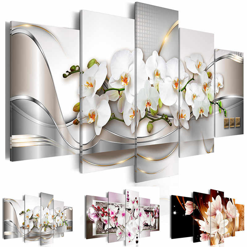 Canvas Wall Art Pictures Home Decor 5 Pieces Orchids Flower Painting Modular Print Exquisite Background Poster Living Room Frame