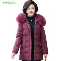 Среднего возраста Для женщин с капюшоном меховой воротник вниз хлопок зимняя куртка Для женщин s Большие размеры длинная парка Для женщин