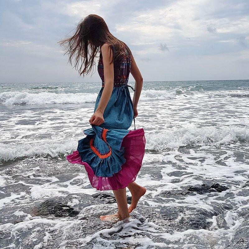 Summer Women Maxi Dress 2016 Yuzi may Boho New Cotton Linen Dresses Floral Print Sundress Embroider