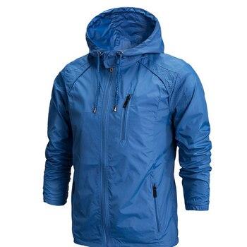 100% Poliéster Homens Sportwear Jaqueta Primavera Outono Fina Protetor Solar Blusão Com Capuz Zipper Casacos Dos Homens Outwear Militar 4XL jaqueta masculina