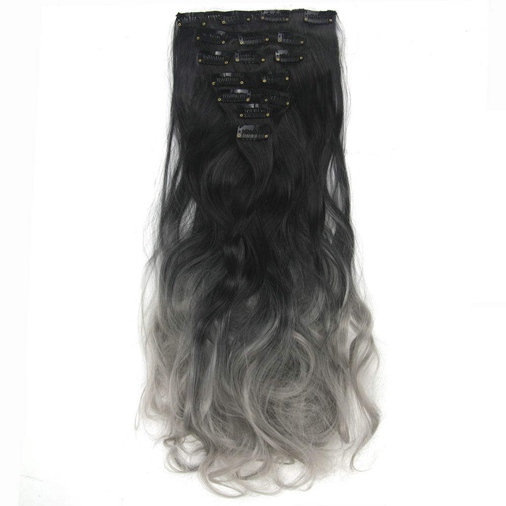 Soowee 16 Clips 7pcs set Long Curly Synthetic Hair Black to Gray Ombre Hair Clip In