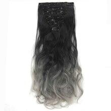 Soowee 16 Клипы 7 шт./компл. Длинные Вьющиеся Синтетических Волос Черный с Серым Ombre Волос Клип В Наращивание Волос Полной Головки Волос для Женщин