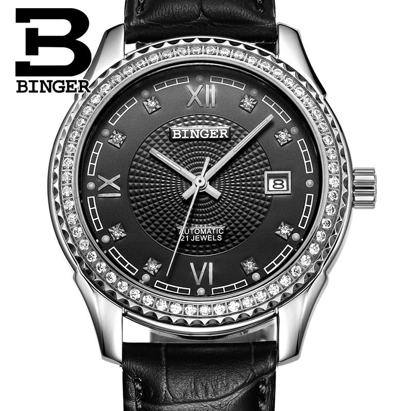Switzerland men's watch luxury brand Wristwatches BINGER diamond Mechanical Wristwatches leather strap Waterproof B1112B 5