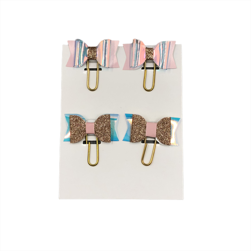 4pcs/Pack Laser Color Bow Shape Paper Clips Cute Planner Clips Paperclips Bookmarks Card Holder Message Clips School Supplies
