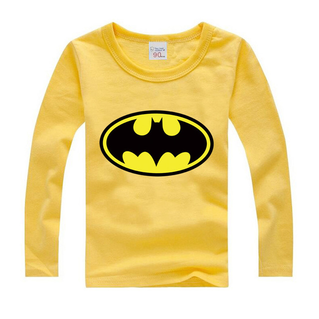 Autumn Spring Girls Tees Casual Children T shirts Baby Boys Batman Cartoon Long Sleeve Cotton T-shirt Teenage Girl Clothing Top