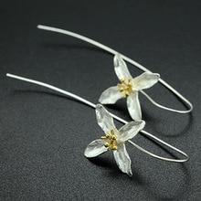 Fashion Plata 925 Sterling Silver Drop Earrings Four Leaf Clover Flower Earrings Women Jewelry