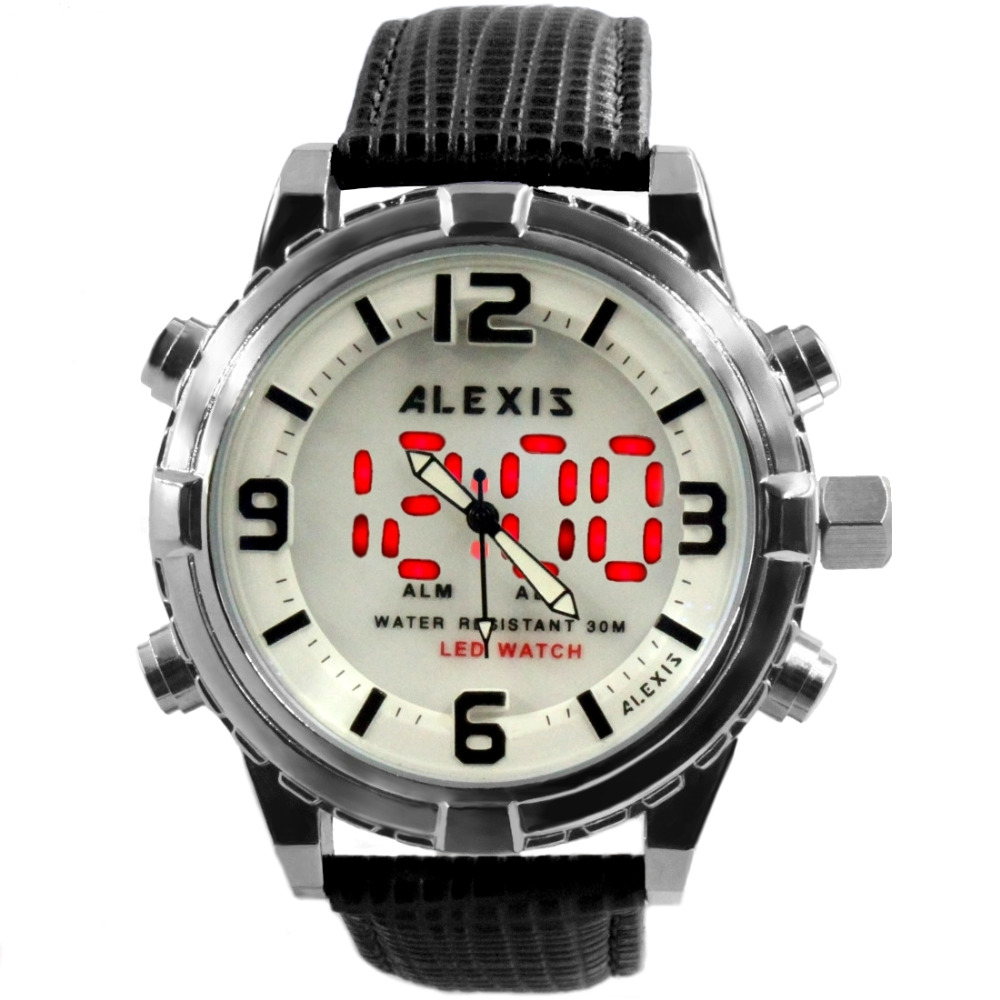 цена на Alexis Fashion Men Analog Quartz Round Watch Digital Module Geninue Leather Strap White LED Dial Water Resistant AW808ABCDE