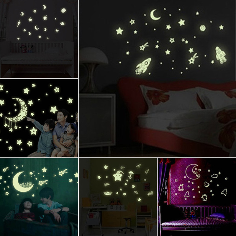 Room Decoration Galaxy Starry Luminous Stickers Moon Stars Planets Glow In The Dark Fluorescent Decal Kids