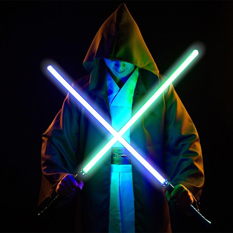 LGTOY Light saber Metal Dueling Sword 11 Color Lightsaber Cosplay RGB Light Children Toy Flashing Laser Kids Gift Wars Toy