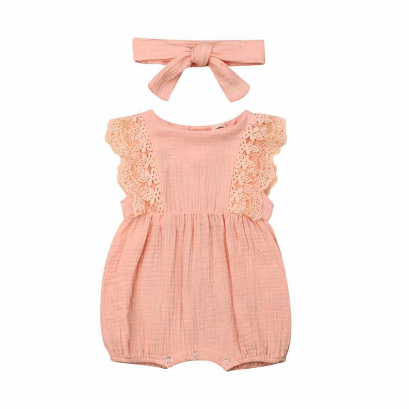 Красивая летняя одежда для новорожденных девочек, кружевной комбинезон с оборками и рукавами, костюм-комбинезон, повязка на голову с бантом, комплекты из 2 предметов для маленьких девочек 0-24 месяцев