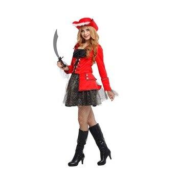 Fantasía femenina piratas rojos del Caribe Cosplay mujer Halloween Disfraces carnaval La...