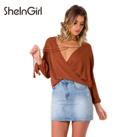 SheInGirl Fashion Solid Red Shirts Women Deep V Neck Long Sleeve Casual Ruffles Blouses Female Lace