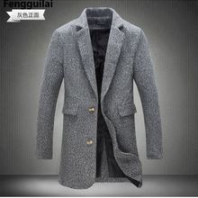 M -5xl New Fashion Long Trench Coat Men Winter Mens Overcoat 40 %Wool Thick Pea
