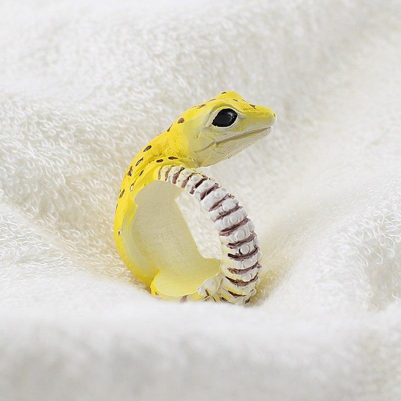 Punk Men Women Hot Sale Lovely Animal Jewelry 3D Cute Cartoon Dog Gecko Rabbit Squirrel Open-end Wrap Adjustale Rings Boy Girl
