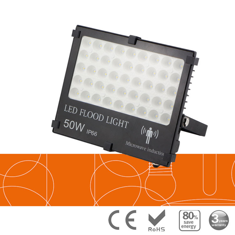 20pc/lot Untrathin Microwave Radar Induction motion sensor LED floodlight 10w 20w 50W 100W 150W AC85-265V IP65 Outdoor Lighting