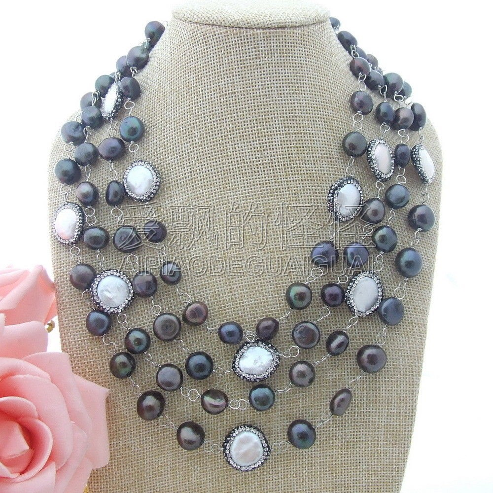 N071705 4 Strands 18'' Black Baroque Pearl White Coin Pearl Necklace ужин с дураком 2018 10 19t19 30