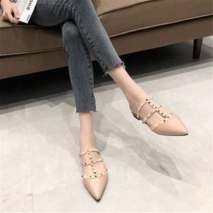 Image 4 - נשים נעלי 2019 קיץ מסיבת מסמרת אלגנטי כפכפים אופנה יוקרה שחור נשים נעליים