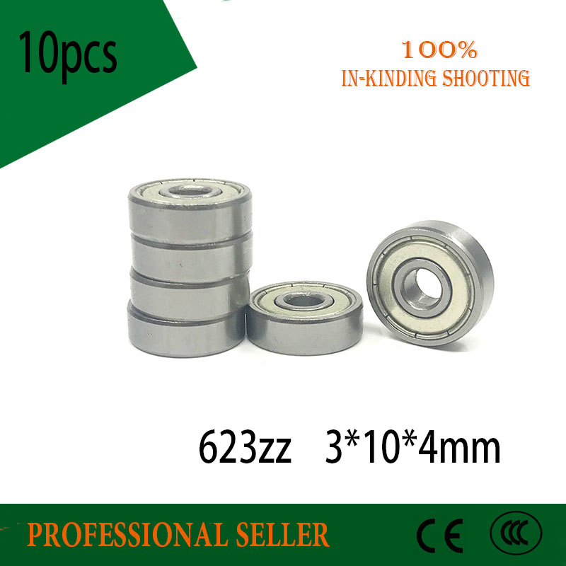 Free Shipping 10pcs/lot 623ZZ 623-ZZ  623 2Z ZZ  Bearing 3x10x4 Miniature Deep Groove Ball Bearingbearing 623Z For 3D Printer