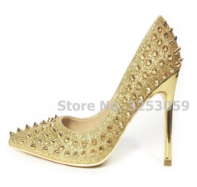ALMUDENA High End Gold Silver Sequined Rivets Pointed Toe Pumps Shallow  Gold Heels Dress Shoes Paillette Spikes Shoes 12cm Heel c74369fd6ba2