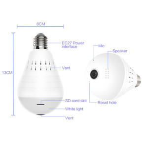 Image 2 - Home Surveillance Camera IP Camera 1080P LED Ligh Wireless Panoramic Fisheye Bulb Lamp WIFI Camera 360 Degree WiFi CCTV cam