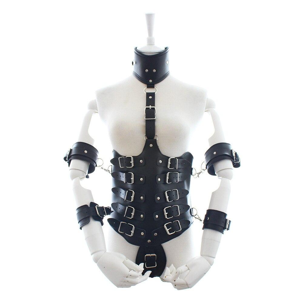 Lingerie Sexy en cuir PU avec menottes et col pour col et bras attachés Costume fétiche Bondage
