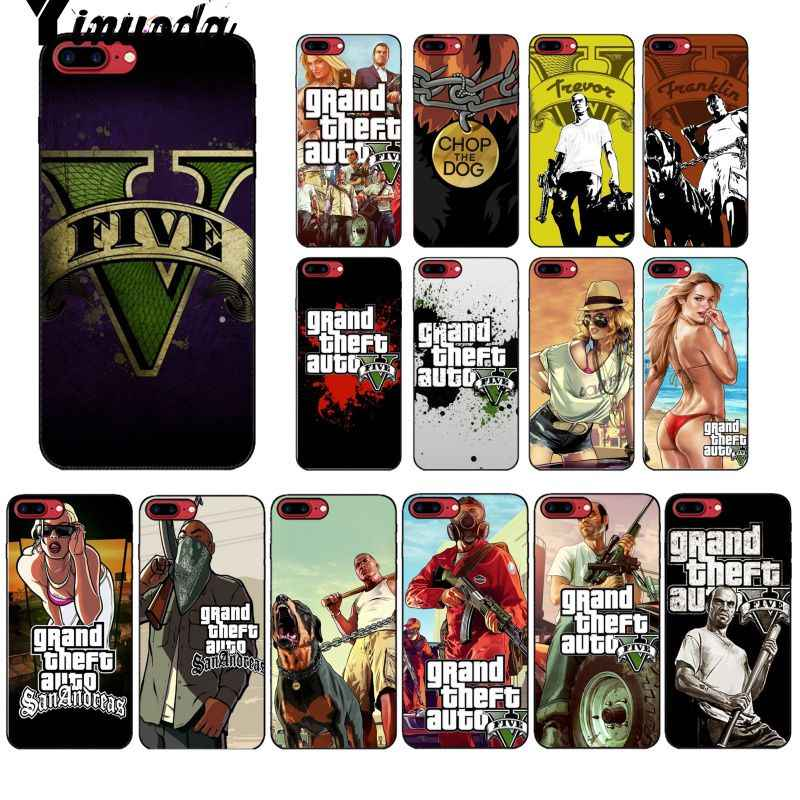 Yinuoda rockstar gta 5 แกรนด์ Theft นุ่มซิลิโคน TPU โทรศัพท์สำหรับ iPhone 8 7 6 6S Plus 5 5S SE XR X XS MAX Coque Shell