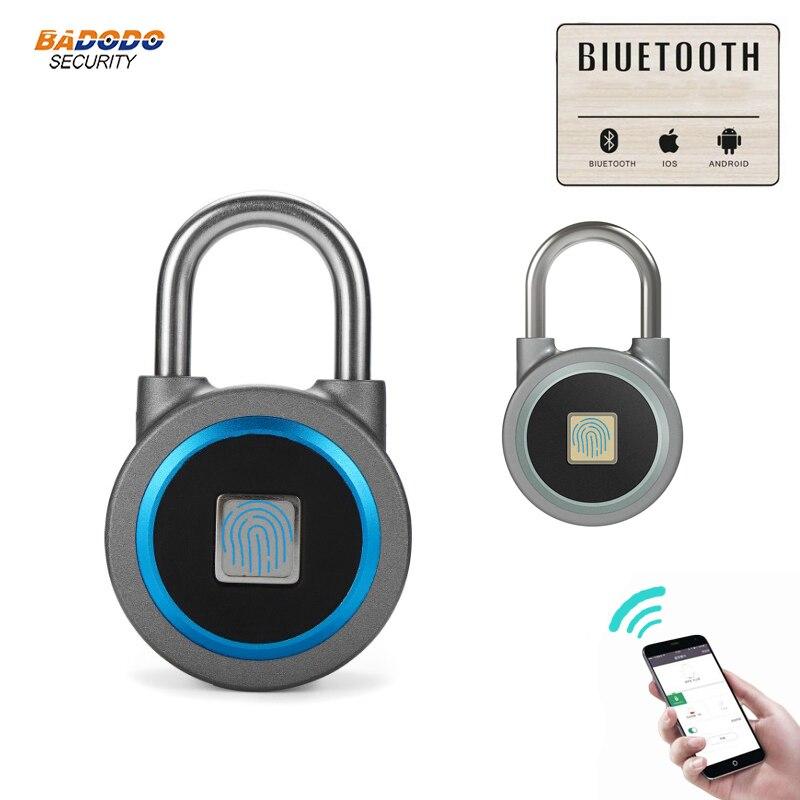 Image 2 - Waterproof Keyless portable Bluetooth smart Fingerprint Lock padlock Anti Theft iOS Android APP control door cabinet padlock-in Electric Lock from Security & Protection