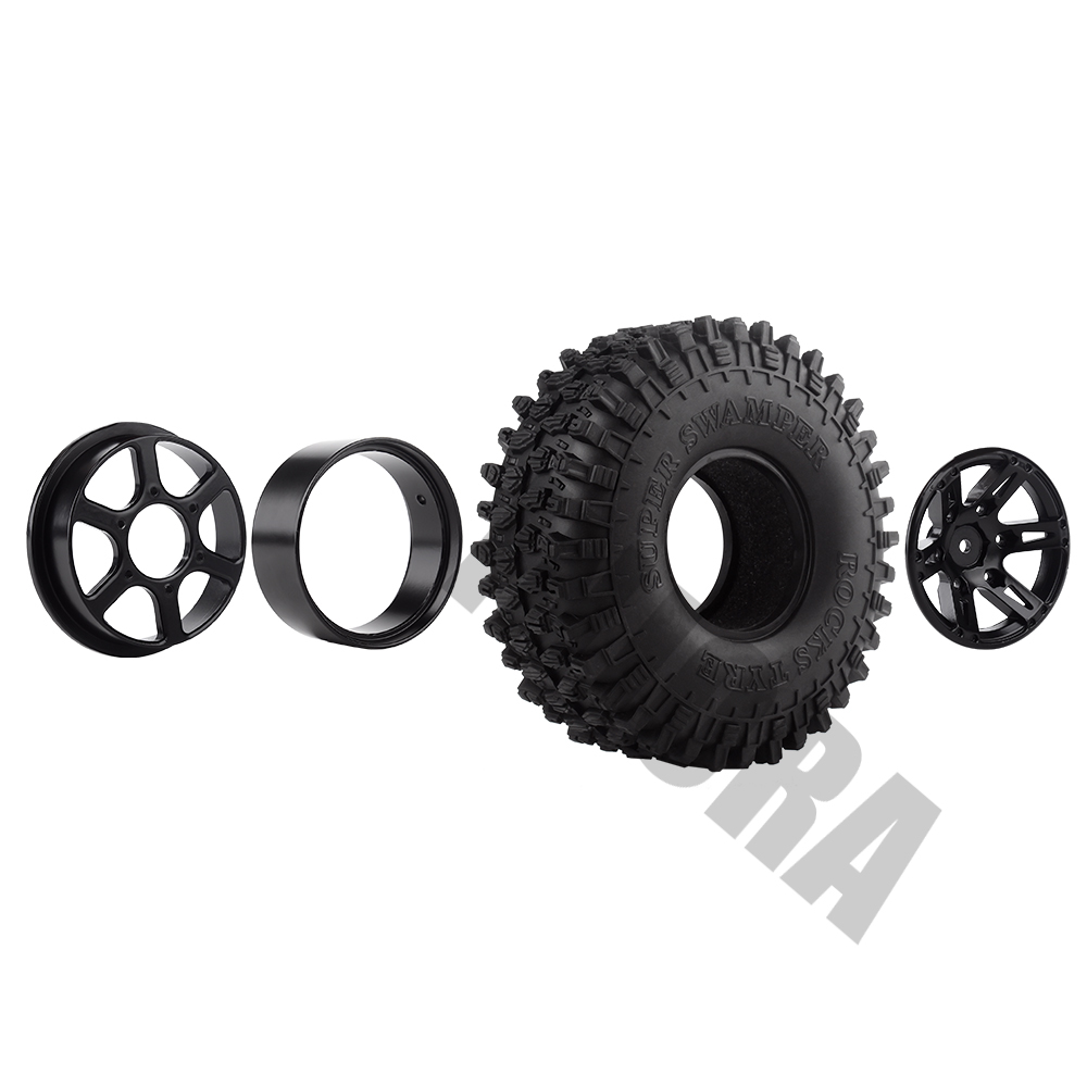 "Image 4 - INJORA 4Pcs 1.9"" Beadlock Wheel Rim & 1.9 Rubber Tires Set for 1/10 RC Crawler Axial SCX10 90046 RC Car Parts-in Parts & Accessories from Toys & Hobbies"
