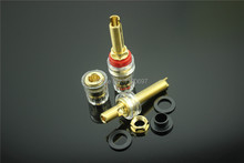 Transparent crystal copper gilded terminal senior posts longer AUDIO Binding posts 2pieces Free Shipping