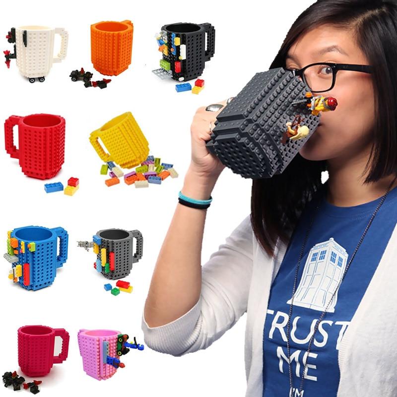 <font><b>New</b></font> Creative DIY <font><b>Assembly</b></font> Build-on Brick Mug Building Blocks Coffee Mug Brick Drink Tea <font><b>Cup</b></font>